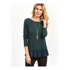 SheIn(sheinside) Dark Green Contrast Lace Up Back Ruffle T-shirt ($14) ❤ liked on Polyvore featuring tops, t-shirts, green, long sleeve stretch tee, dark green t shirt, green tee, green long sleeve t shirt and embellished t shirts
