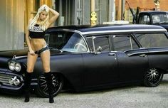 A grand collection of beautiful ladies with vehicles Rat Rod Girls, Car Girls, Classy Cars, Trucks And Girls, Weird Cars, Sweet Cars, Station Wagon, Old Trucks, Hot Cars