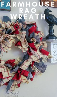 [orginial_title] – Danielle, The Frugal Navy Wife Farmhouse Rag Wreath DIY Let me show you how to do this super simple Farmhouse Rag Wreath DIY. This is home decor at its finest and it won't cost you an arm and a leg. Wreath Crafts, Diy Wreath, Decor Crafts, Home Crafts, Diy Home Decor, Diy And Crafts, Rag Wreaths, Wreath Ideas, Cork Wreath
