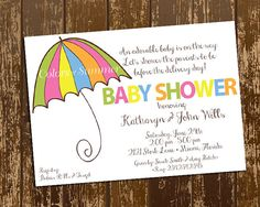 Colorful Umbrella Baby Shower Invitation  by colorsofsummer, $12.00