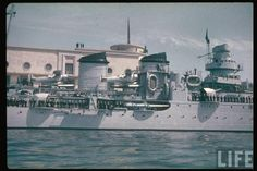 """Cruiser Giuseppe Garibaldi, """"Condottieri class"""". Note the Romeo seaplanes, let's say they were for the Italian navy the equivalent of the Curtiss Seagull for the US navy. The Condottieri class was a very modern serie of light cruisers with a very long operational life in Italian navy."""