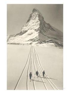 Des skieurs qui quittent Matterhorn Reproduction d'art