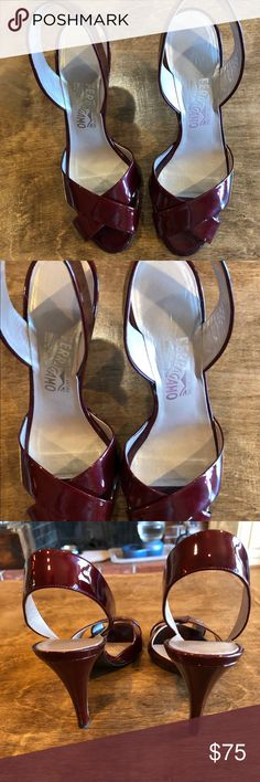 Ferragamo Patent Leather Oxblood Sandals 9 B Beautiful shoes Ferragamo Shoes Heels
