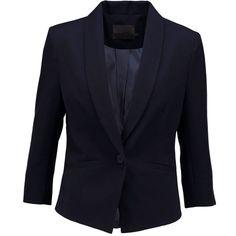Minimum EVALINE Blazer twilight blue (£70) ❤ liked on Polyvore featuring outerwear, jackets, blazers, dark blue, collar jacket, patterned blazer, print blazer, lapel jacket and dark blue jacket