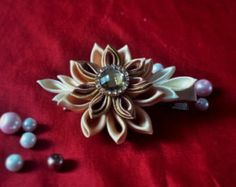 Slate Space Mum Kanzashi by littlecookie on Etsy