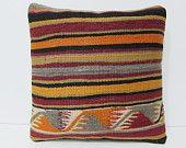 kilim pillow handmade cushion cover 16x16 knitted pillow cover bohemian pillow cover rustic pillow sham kilim floor pillow orange rugs 24753