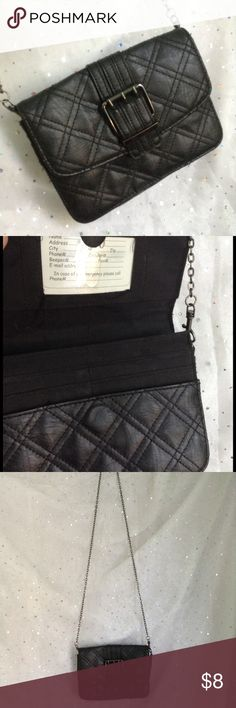 Black Quilted Party Size Crossbody Purse Use with or without the chain for just the right look.  Plenty of spaces for cards and ID so leave your wallet at home.  Gently pre-loved condition.  Magnetic closure, interior zipper pocket. Bags Crossbody Bags