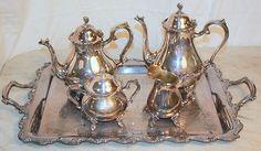 Vintage 5 piece Silverplate Tea Set Coffee Cream Sugar Tray Wilcox Joanne IS