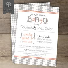 BaByQ  BBQ baby shower and Barbeque invitations / grey by greylein