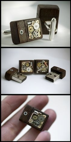 Awesome combination of vintage/steampunk/geek cufflinks. 8gb USB drives.