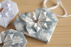 origami ornament grey and white hearts