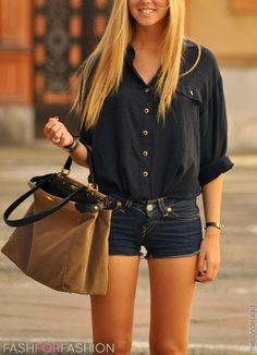 Street Style With Black Shirt & Jeans Shorts