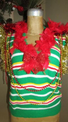 "UGLY CHRISTMAS Sweater Vest OM Gosh GAUDY Stripe sz S 44"" chest #UglyChristmas #Ugly"