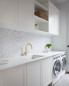 modern laundry room design, modern laundry room organization, laundry room cabinets with sink and open shelves and tile floor, laundry in mudroom design Laundry Room Inspiration, Modern Laundry Rooms, Room Inspiration, Room Design, Laundry Mud Room, Minimalist Decor, Interior, Dream Laundry Room, Splashback