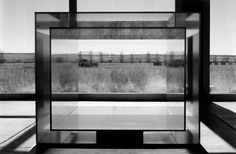 Black and white photo of conceptual artist Donald Judd's work at The Chinati Foundation from Friends of Architecture Marfa tour, 2004 [photo by Larry Doll] #friendsofarchitecture #architecture #art #marfa