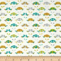 Michael Miller Les Amis Turtle Parade Turtles Teal from @fabricdotcom  Designed by Patty Sloniger for Michael Miller Fabrics, this fabric is perfect for quilting, craft projects, apparel and home décor accents. Colors include aqua, teal, citron and grey on a white background.