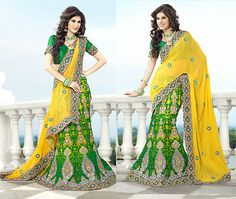Heavy Embroidery work designer Lahenga sari saree in hot yellow color