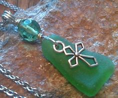 "Sea Glass Jewelry Necklace Bright Green 24"" Stainless Chain HandMade CROSS #SeaGlassSunshineKLM #Pendant"