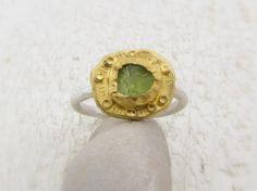 Gold Peridot Ring  Gold Ring  Rought Peridot & 24k Gold by Omiya, $245.00