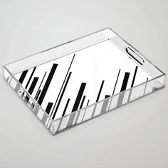 Diagonals - Black on White Acrylic Tray by laec White Acrylics, Color Pop, Tray, Store, Black, Colour Pop, Black People, Storage, Business