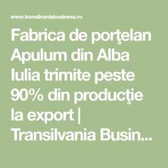 Fabrica de porţelan Apulum din Alba Iulia trimite peste 90% din producţie la export | Transilvania Business -Sursa ta de informatii economice Math Equations