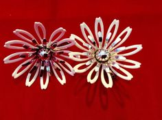 Vintage Sarah Coventry Clip Back Flower Earrings #SarahCoventry