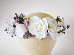 White and lavender flower crown. White wedding crown. Lavender