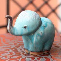 Novica Handmade Ceramic 'Turquoise Elephant Child' Celadon Statuette (Thailand) (Solid), Blue