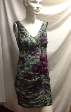 Nanette Lepore Silk Dress 8 Purple Green Sleeveless Floral Lined Rushed  #NanetteLepore #Flatteringlook #Cocktail