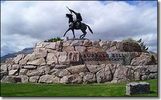 We saw a postcard on it once with this statue (Buffalo Bill, end of Main Street in Cody) with a MONTANA across it.  This is our statue, people!