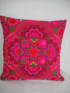 Hmong Unique Embroidered Pillow Cover Red and Pink color   Decoration  896b08807a8ef