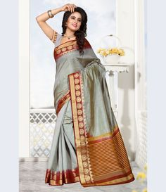 Gray Raw Silk Saree With Blouse 68210