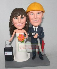 WowMiniMe.com 100% handmade custom wedding cake toppers look like you from photo--Firemen wedding cake toppers