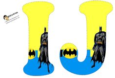 Alfabeto de Batman en fondo amarillo y azul. | Oh my Alfabetos!