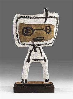 """Karel Appel, (1921-2006), De directeur van het Stedelijk Museum, Willem Sandberg, had echter """"geen ruimte"""" om kunst van de Experimentele Groep te exposeren. In Denemarken werd het werk van Cobra door de pers welwillend ontvangen. Toen Appel naar Kopenhagen reisde, genoot hij daar van de gemoedelijke sfeer."""