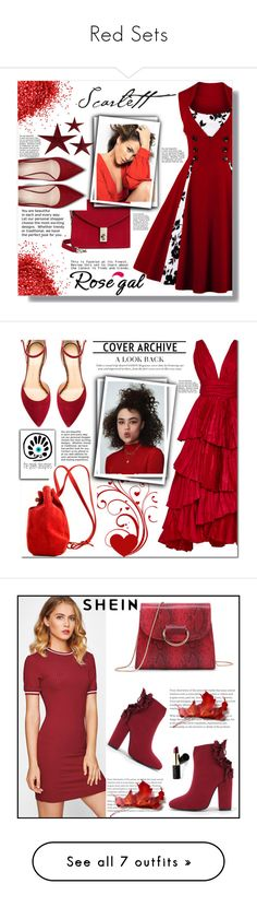 """Red Sets"" by curlyelias ❤ liked on Polyvore featuring MANGO, Jennifer Lopez, vintage, dress, swing, rosegal, red_combination, Oscar de la Renta, Meraki and Charlotte Olympia"