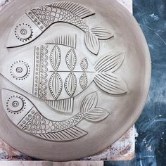 Decorated fish plate