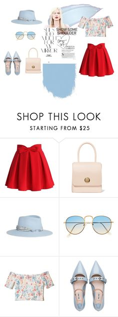"""Show some shoulder"" by krnas on Polyvore featuring Chicwish, Mansur Gavriel, Maison Michel, Marc, Rika, Hollister Co. and Miu Miu"