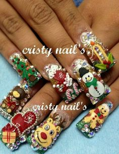Really?  Christmas Nails(so cool if u want your nails to be that way mayb for a Christmas party lol)☺