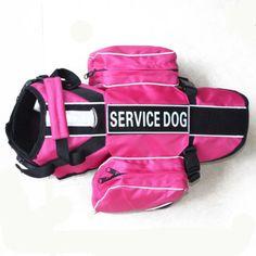Reflective Service Dog Vest Harness Removable Velcro Patches Saddle Bags   eBay