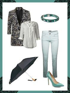 What to wear to work: das perfekte Büro-Outfit mit Ombre-Hose, Blazer mit Schwarz-Weiß-Print und stylischen Pumps.