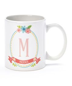 Love this Floral Frame Personalized 11-Oz. Mug on #zulily! #zulilyfinds