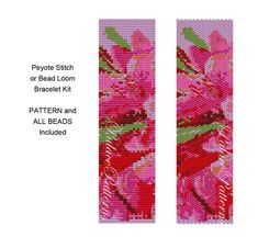 Bracelet KIT for Bead Loom or Peyote Stitch - Gladiolus - Bead Loom or Peyote Stitch Bracelet Kit - Pattern and all Beads Included
