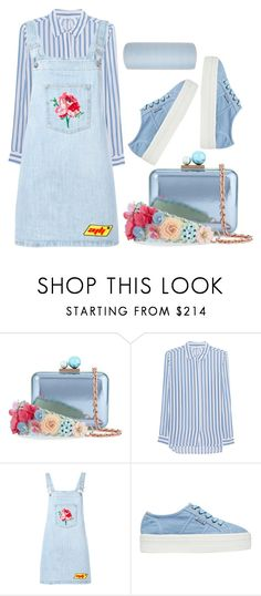 """blue."" by retrorockerchic ❤ liked on Polyvore featuring Sophia Webster, iHeart, Au Jour Le Jour and Hotel Collection"
