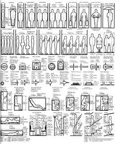 Diagrams illustrating ergonomic design in relation to the human body.