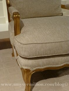 Gilded gold chair with metalic threading in fabric, stunning Amy Vermillion Interiors Blog- Baker Furniture Gold Furniture, Baker Furniture, Private Jet Interior, Gold Chairs, Gold Gilding, Threading, Amy, Ottoman, Design Inspiration