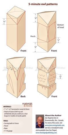 5 Minute Whittling Projects and Carving Owl - Wood Carving Techniques - Wood Carving Simple Wood Carving, Wood Carving Faces, Wood Carving Designs, Wood Carving Patterns, Wood Carving Art, Chainsaw Wood Carving, Wood Art, Whittling Patterns, Whittling Projects