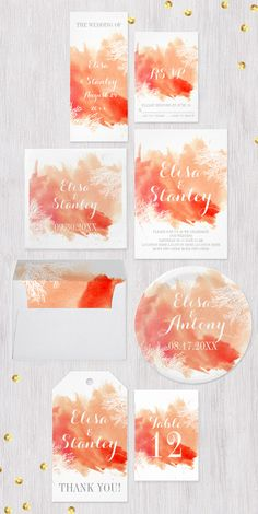 Modern abstract watercolor splash coral reef beach #weddinginvitations collection