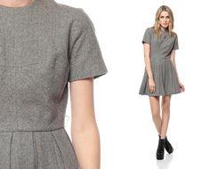 Wool Dress 1960s Mod Mini Grey PLEATED High Waisted by ShopExile, $64.00