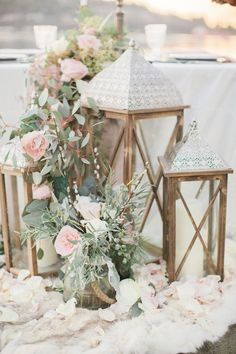 wedding lanterns with flowers via Simply Sweet Photography & Nomo Akisawa… Wedding Ceremony Ideas, Beach Wedding Reception, Chic Wedding, Dream Wedding, Wedding Day, Rustic Beach Weddings, Trendy Wedding, Wedding Entrance Table, Bohemian Beach Wedding